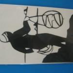 これは済州島の海女さんをきりえで表わしています。