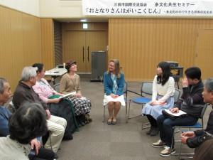 最後はグループに分かれて文化の違いや経験を話されてました。